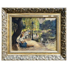 "Vincent La Gambina ""Central Park"" Original Oil Painting, circa 1944"