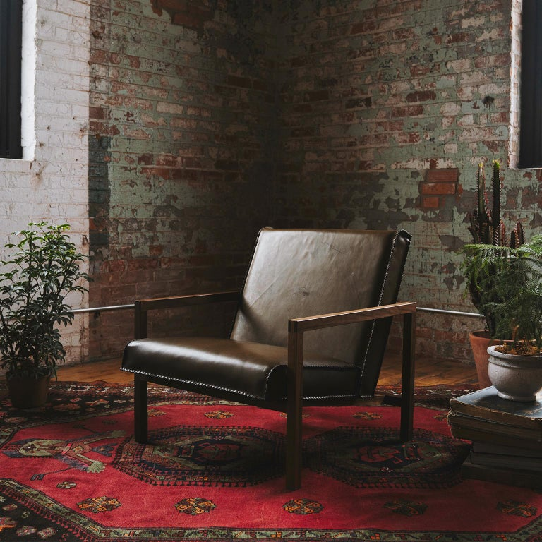 Canadian Vincent Lounge Chair In Olive Drab Leather And Walnut Frame For Sale