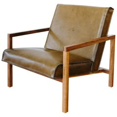 Vincent Lounge Chair In Olive Drab Leather And Walnut Frame