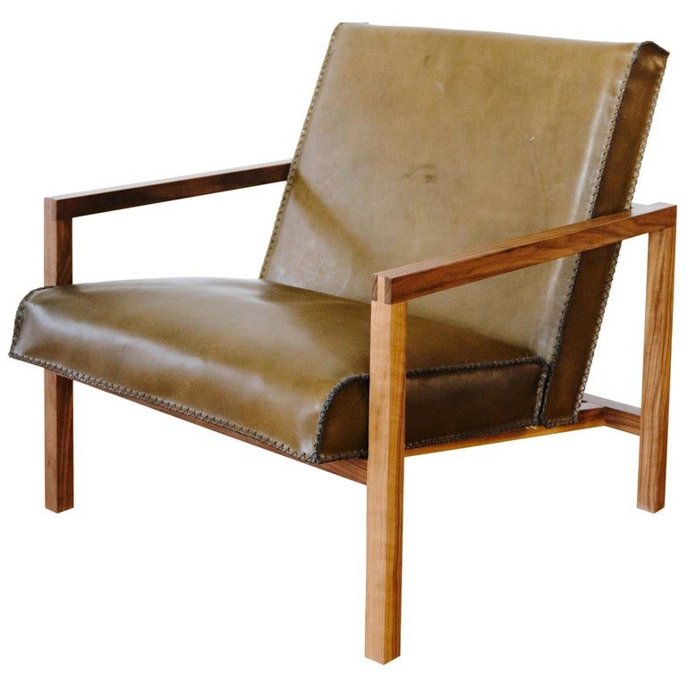 Vincent Lounge Chair In Olive Drab Leather And Walnut Frame For Sale