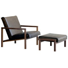 Vincent Olive Drab Leather And Walnut Lounge Chair Set with Matching Ottoman