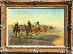 Moroccan Battle Scene, Orientalist Painting by Vincent Manago circa 1920