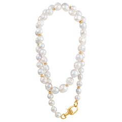 Vincent Peach Baroque White Fireball Freshwater Pearl Strand Necklace
