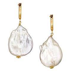 Vincent Peach Biltmore Baroque Freshwater Pearl Drop Earrings