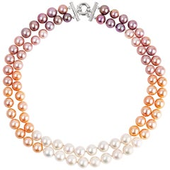 Vincent Peach Double Ombre Freshwater Edison Pearl Strand Necklace