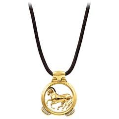 Vincent Peach Equestrian 14 Karat Gold Finnhorse Pendant Necklace