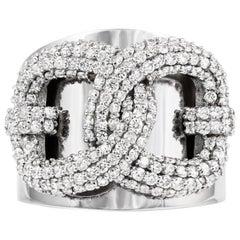 Vincent Peach Equestrian 14 Karat White Gold Snaffle Lock Diamond Ring