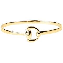 Vincent Peach Equestrian 14 Karat Yellow Gold Bangle Bracelet