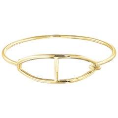 Vincent Peach Equestrian 14 Karat Yellow Gold Buckle Bangle Bracelet