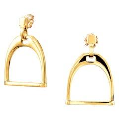 Vincent Peach Equestrian 14 Karat Yellow Gold Stirrup Earrings