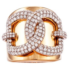 Vincent Peach Equestrian 18 Karat Yellow Gold Snaffle Lock Diamond Ring