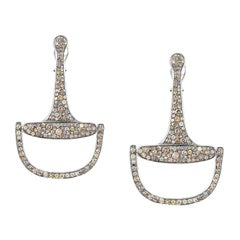 Vincent Peach Equestrian Episodic Diamond Bit Hoop Earrings