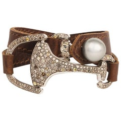 Vincent Peach Equestrian Diamond Montana Leather Cuff Bracelet or Choker