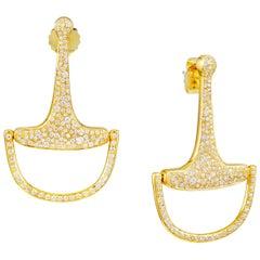 Vincent Peach Equestrian Gold Diamond Bit Hoop Earrings