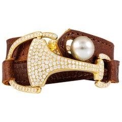 Vincent Peach Equestrian Gold Diamond Montana Leather Cuff Bracelet or Choker