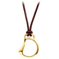 Vincent Peach Equestrian Gold Leather Pearl Cheval Bit Pendant Necklace