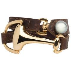 Vincent Peach Equestrian Gold Montana Leather Cuff Bracelet or Choker