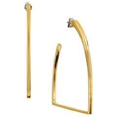 Vincent Peach Equestrian Gold Stirrup Hoop Earrings