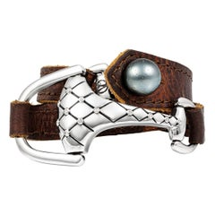 Vincent Peach Equestrian Quilted SS Montana Leather Cuff Bracelet or Choker