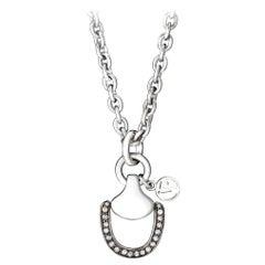 Vincent Peach Equestrian Silver Diamond Churchill Downs Chain Pendant Necklace