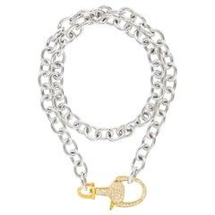 Vincent Peach Equestrian Silver Gold Diamond Lock Chain Necklace