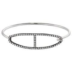 Vincent Peach Equestrian Sterling Silver Diamond Bangle Bracelet