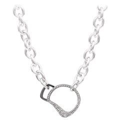 Vincent Peach Equestrian Sterling Silver Diamond Cheval Bit Chain Link Necklace