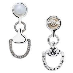 Vincent Peach Equestrian Sterling Silver Diamond Churchill Downs Drop Earrings