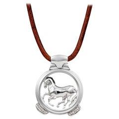 Vincent Peach Equestrian Sterling Silver Finnhorse Pendant Necklace