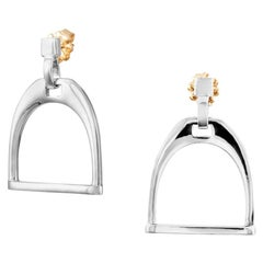 Vincent Peach Equestrian Sterling Silver Stirrup Earrings