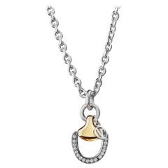Vincent Peach Equestrian Two-Toned Diamond Chain Pendant Necklace