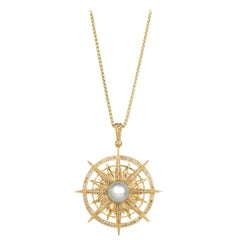 Vincent Peach Gold Diamond Pearl Compass Pendant Necklace