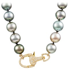 Vincent Peach South Sea Tahitian Pearl Diamond Knotted Strand Necklace