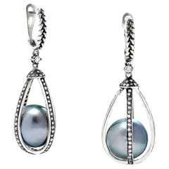 Vincent Peach Star Crossed Tahitian Pearl Sterling Silver Diamond Drop Earrings
