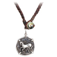 Vincent Peach Sterling Silver Trojan Coin Leather Pearl Pendant Necklace