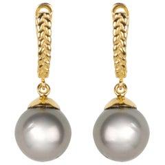 Vincent Peach Tahitian Pearl 18kt Gold Drop Earrings