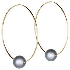 Vincent Peach Tahitian Pearl Gold Hoop Earrings