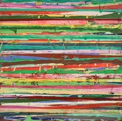 Big Little 115 (Multi-Colored Layered Abstract Geometric Mixed-Media Painting)