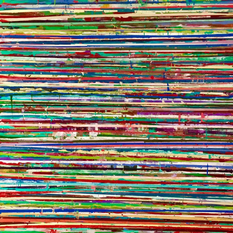 131 Horizon Lines (Modern Colorful Abstract Painting of Horizontal Stripes)