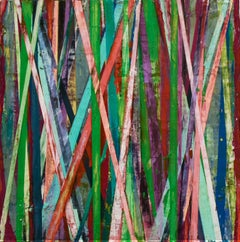 Big Little 105 (Multi-Colored Striped Abstract Geometric Mixed-Media Painting)