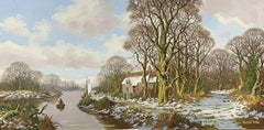 Large English Signed Oil - Winter Woodland Landscape with River & Cottage