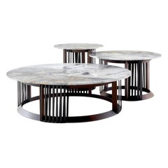 Vincent Set of 3 Grey Marble Coffee Tables by Castello Lagravinese Studio