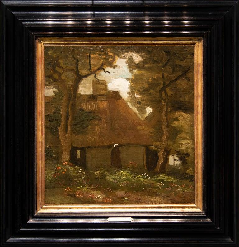 La Chaumière et une Paysanne Sous les Arbres - Painting by Vincent van Gogh