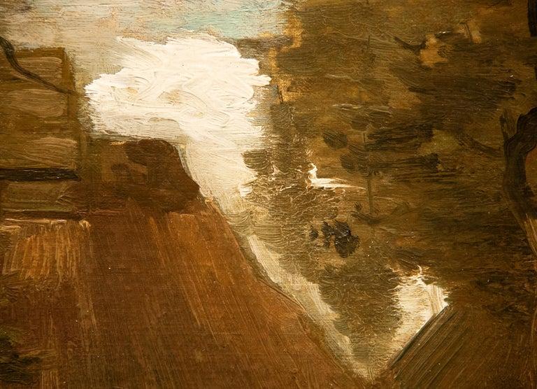 La Chaumière et une Paysanne Sous les Arbres - Brown Landscape Painting by Vincent van Gogh