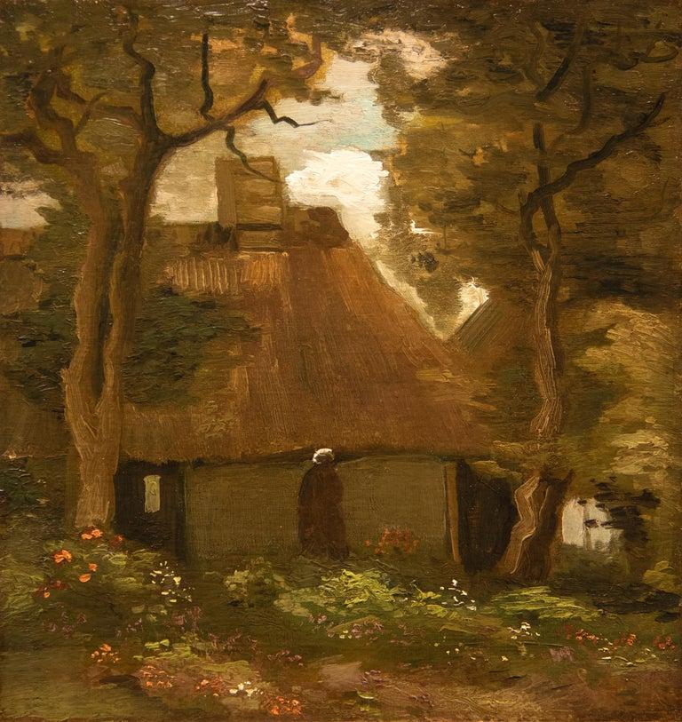 Vincent van Gogh Landscape Painting - La Chaumière et une Paysanne Sous les Arbres