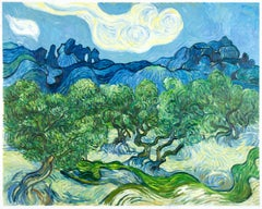 "Vincent van Gogh - ""Olive Trees in a Mountainous Landscape"" - hand-painted repr."