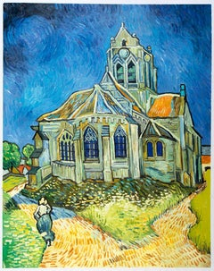 "Vincent van Gogh - ""The Church at Auvers"" - hand-painted in oil on canvas repr."