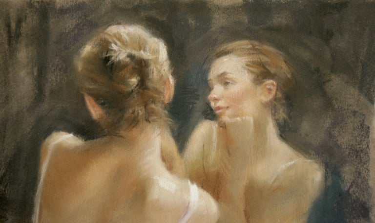 REFLECTIVE  MOMENTS .   Vicente Romero Redon Spanish contemporary artist - Brown Figurative Painting by Vincente Romero Redondo