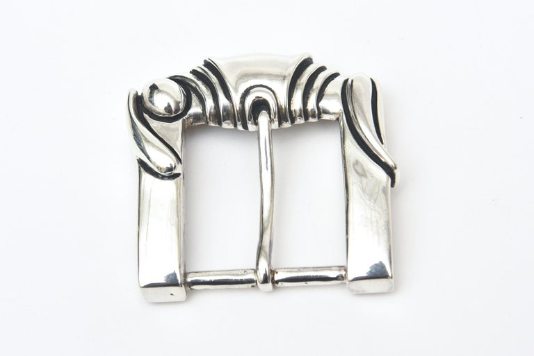 Vincenza Sterling Silver Italian Belt Buckle Signed Vintage In New Condition For Sale In North Miami, FL
