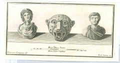 Ancient Roman Busts - Etching by Vincenzo Campana - 18th Century